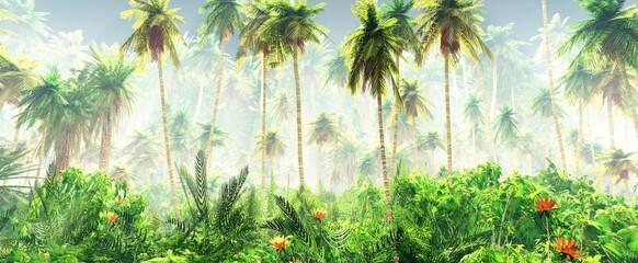 Tropical jungle in the fog. Palms in the morning