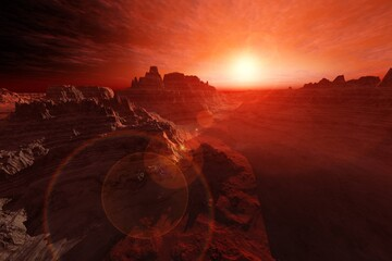 Photo sur Plexiglas Marron Mars at sunset, panorama of Mars, alien landscape, a panorama of a surface of another planet