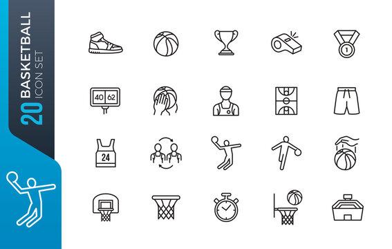 minimal basketball icon set