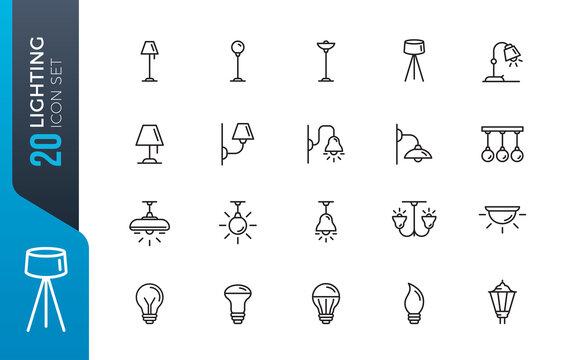 minimal lighting icon set