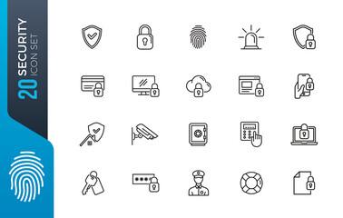 Obraz minimal security icon set - fototapety do salonu