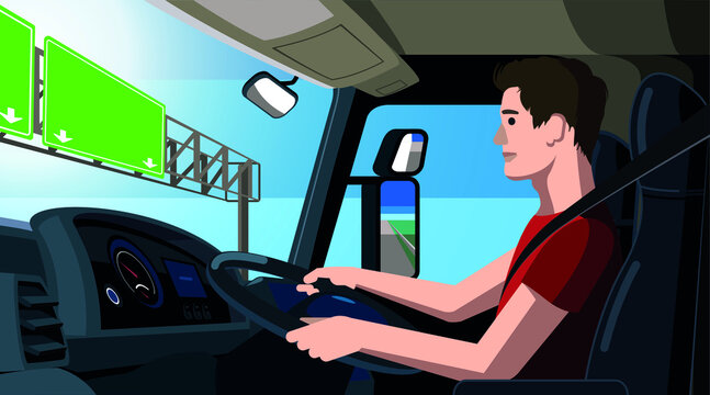 Trucker vector illustration, truck driver sitting in his cab, at the driving wheel, young worker drives the truck along the highway, view from inside the truck cabin