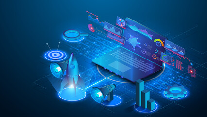 Investment strategies and process isometric web banner. Web page design templates collection of business solution and analysis, startup, innovative ideas, investment. Laptop with business  charts