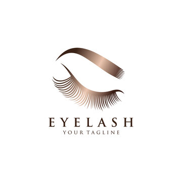 Luxury eyelash glamour logo. Vector emblem for makeup or beauty salon, lash extensions maker.