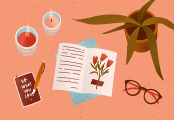 Notepad or diary with dry beautiful flower and writing text surrounded by cosiness things on desk vector flat illustration. Top view of cozy workplace organization with candles, accessories and plant