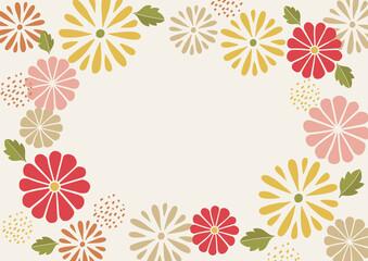 菊のパターンの和風フレーム