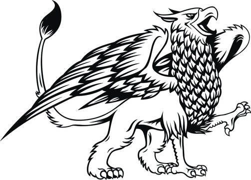 Griffin with retro style. Mythology creature with eagle head and lion body and eagle wings