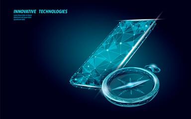 3D low poly compass. Business global international strategy concept. Journey travel direction destination banner. World exploration creative idea vector illustration