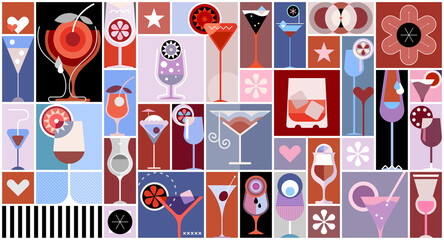 Printed roller blinds Abstract Art Pop art style vector collage with many various cocktails. Cocktail party poster template.