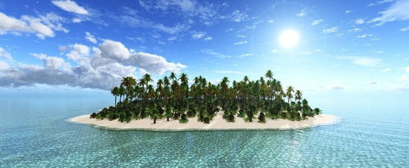 tropical island with palm trees on the background of the sky with clouds and the sun at dawn