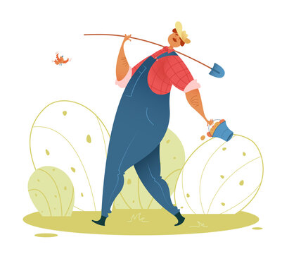 Farmer. A cute gardener in a hat, in a blue overalls, in a red shirt is walking with a shovel and a bucket of potatoes. Vector illustration of a happy man in an autumn garden.