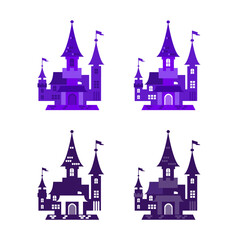 Printed roller blinds Fantasy Landscape Vector illustration of icons for halloween. Isolated modern flat vector illustration of castle.