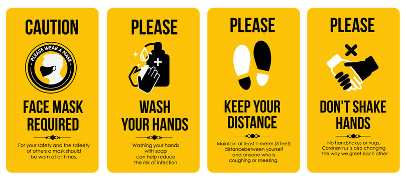 Sign Poster Templates. Caution Card. Face mask required. Please Wash your hands. Keep your distance. Don't shake hands. For the bathroom, toilet, where a lot of people gather.