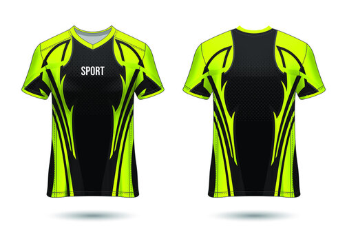 T-Shirt Sport Design. Soccer jersey mockup for football club. uniform front and back view. Template Design