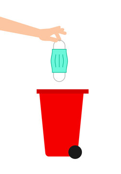 Hand throwing away used protective face mask in trash bin. Red garbage bin for biohazard waste. Safely dispose used surgical mask. White background. COVID-19 prevention. Vector illustration, clip art