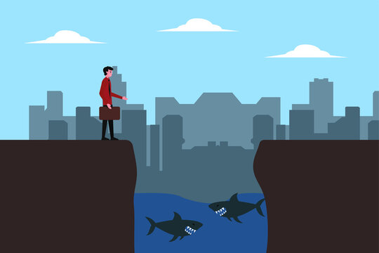 Business risk vector concept: businessman on the edge of a cliff with sharks in the water below
