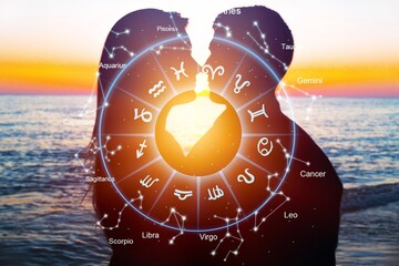 Horoscope astrology zodiac illustration with happy couple
