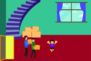 Home relocation vector concept: group of family carrying cardboard boxes to their new home joyfully