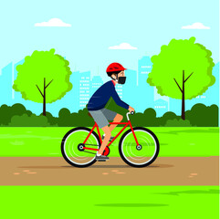 New Normal lifestyle vector concept: man wearing face mask while riding a bike at city garden
