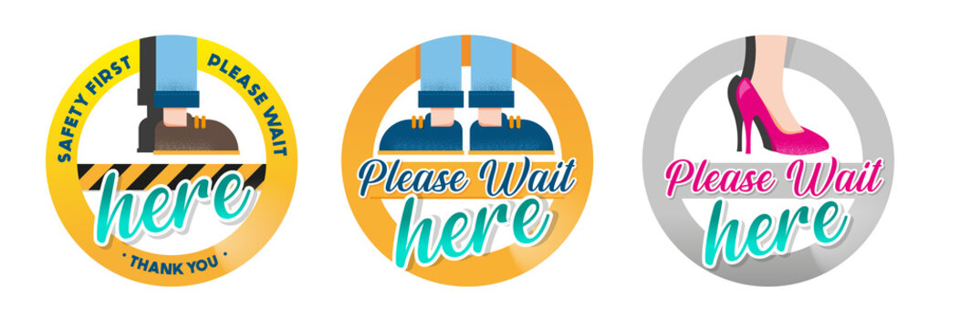 WAIT HERE PLEASE - Set of 3 ICONS - SIGNS - VECTOR - JPEG - PNG - NO BACKGROUND