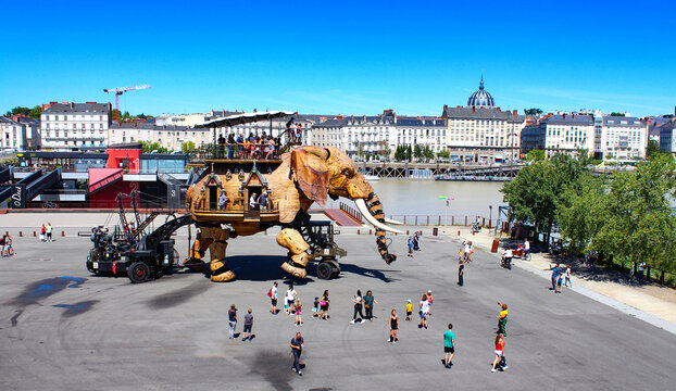 Nantes, France. The Great Elephant of Machines of the Isle of Nantes : artistic, touristic and cultural project based in Nantes, France - July 2020