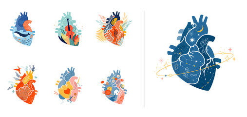 Collection of anatomical heart modern print design, art work