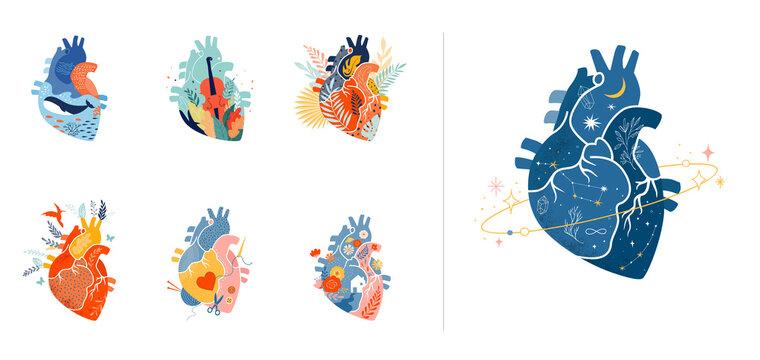 Collection of anatomical heart modern print design, art work