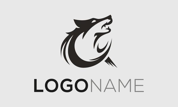 Monogram Circle Abstract Fox Wolf Logo Design