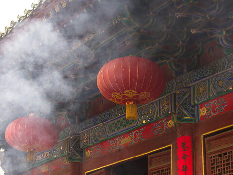 Chinese Red lantern in Shaolin Temple. The Shaolin Monastery is also known as the Shaolin Temple. Dengfeng City, Zhengzhou City, Henan Province, China, 18th October 2018.