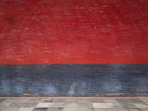 Chinese Red and Black Brick wall in Shaolin Temple. The Shaolin Monastery is also known as the Shaolin Temple. Dengfeng City, Zhengzhou City, Henan Province, China, 18th October 2018.