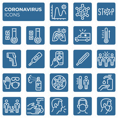 Filled coronavirus icons set. Second wave of coronavirus epidemics. COVID-19 prevention and protection block linear sign collection. Vector symbols, icons mask, social distance, stop virus