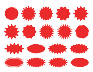 Starburst sticker set - collection of special offer sale round and oval sunburst labels and buttons.