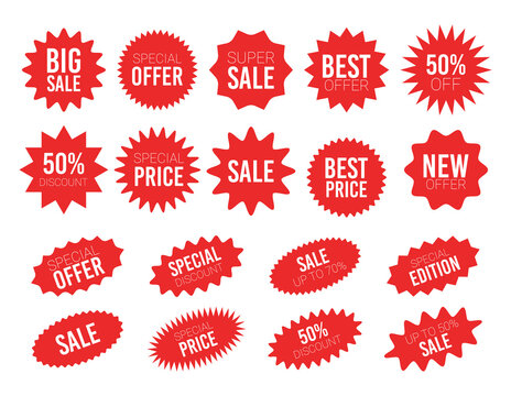 Red sale starburst sticker set - collcetion of stared round and oval labels and badges with best offer and discount sign