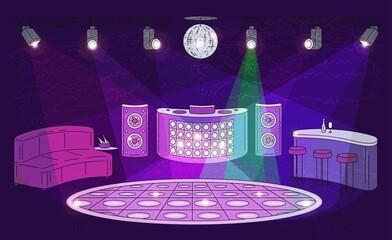 Obraz Night club interior with empty dance floor, spot lights, DJ booth - fototapety do salonu