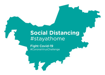 North West South Africa map with Social Distancing stayathome tag