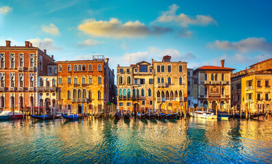 Foto op Canvas Gondolas Venice, Grand Canal, gondolas and buildings at sunrise. Italy