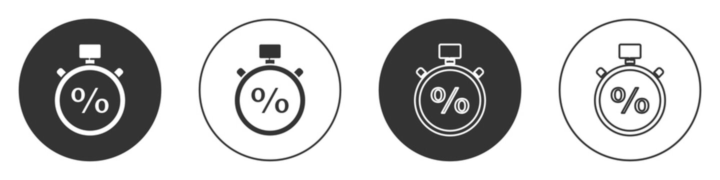 Black Stopwatch and percent icon isolated on white background. Time timer sign. Circle button. Vector Illustration.