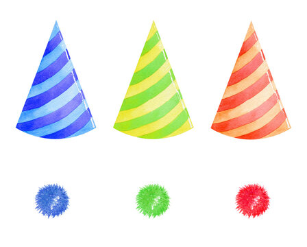 watercolor multi colored party hats set isolated on white background