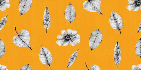 秋をイメージした、花と葉っぱのボタニカルイラストレーションのリピート素材(オレンジ色)