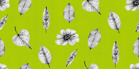 秋をイメージした、花と葉っぱのボタニカルイラストレーションのリピート素材(緑色)