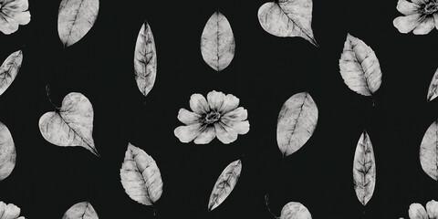 秋をイメージした、花と葉っぱのボタニカルイラストレーションのリピート素材(白黒)