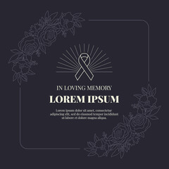 funeral card banner with ribbon sign and text in abstract line Floral rose frame on black background vector design