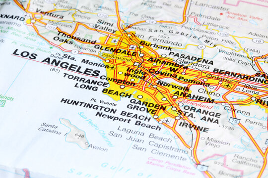 Los Angeles city road map area. Closeup macro view. State of California