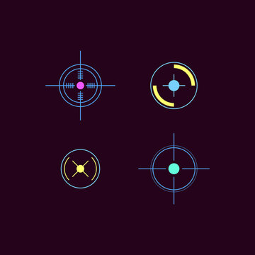 Set of laser tag neon bright target cartoon icons, vector illustration isolated.