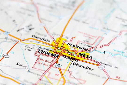Phoenix city road map. Closeup macro view