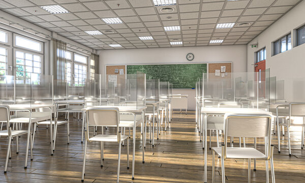 interior of a school with desks equipped with protective plexiglass screens
