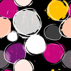 seamless background pattern, with circles/dots, strokes and splashes, on black