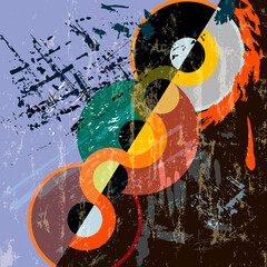 abstract circle background, retro/vintage style, with paint strokes and splashes, grungy