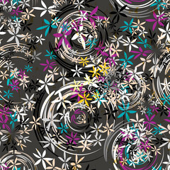 seamless background pattern, with circles/oval, paint strokes and splashes, grungy