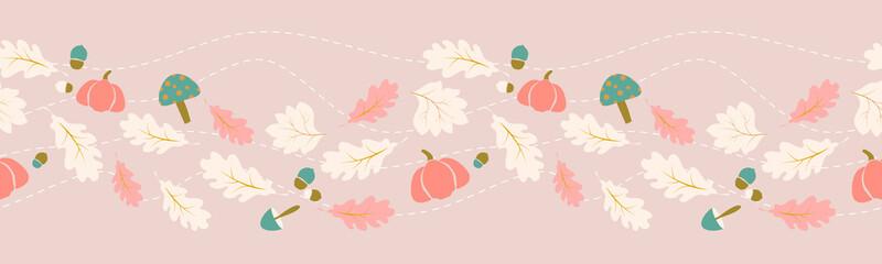 Autumn, fall leaves border seamless pattern concept design for seasonal, thanksgiving